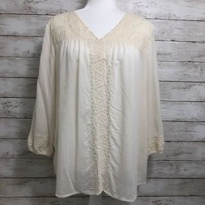 Lucky Brand | Ivory Embroidered Peasant Blouse XL